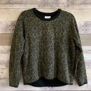 Lou & Grey Green Black Ornate Pullover Sweatshirt
